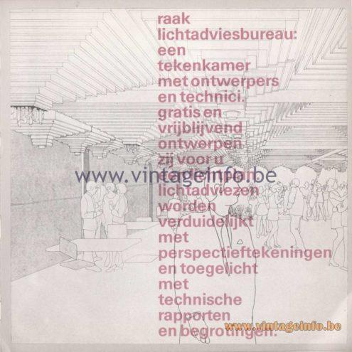 Raak Amsterdam Light Catalogue 8 - 1968 - Raak lichtadviesbureau: een tekenkamer met ontwerpers en technici.