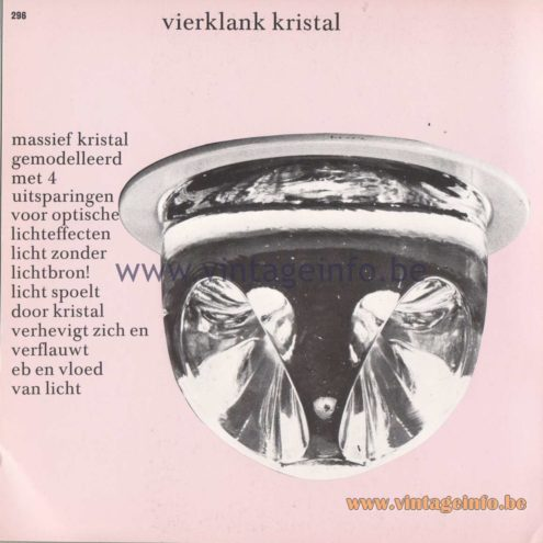 Raak Amsterdam Light Catalogue 8 – 1968 - Vierklank kristal - Four-tone crystal