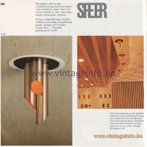 Raak Amsterdam Light Catalogue 8 – 1968 - Raak Sfeer (ambiance) Flush Mount R-294