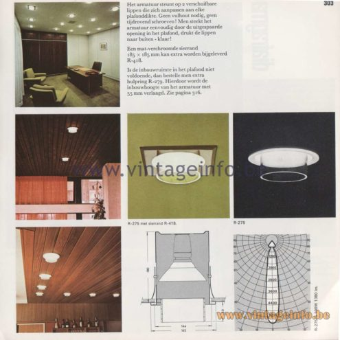 Raak Amsterdam Light Catalogue 8 - 1968 - R-275, R-275/S Nimbus Flush Mount