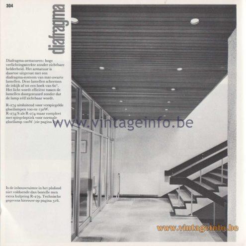 Raak Amsterdam Light Catalogue 8 - 1968 - R-274, R-274/S Diafragma (Diaphragm) Flush Mount