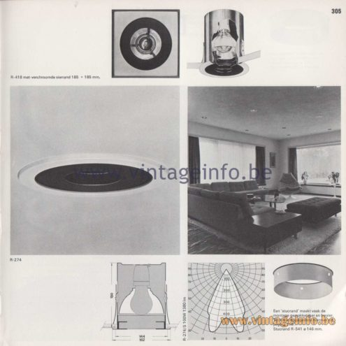 Raak Amsterdam Light Catalogue 8 - 1968 - R-274, R-274/S Diafragma (Diaphragm) and R-418 Flush Mount