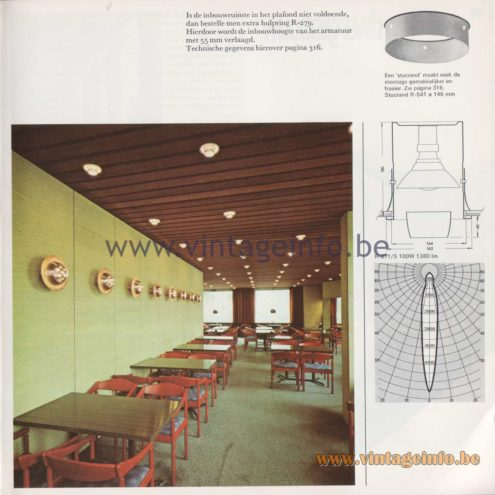 Raak Amsterdam Light Catalogue 8 - 1968 - R-271, R-271/S Ringlite Flush Mount