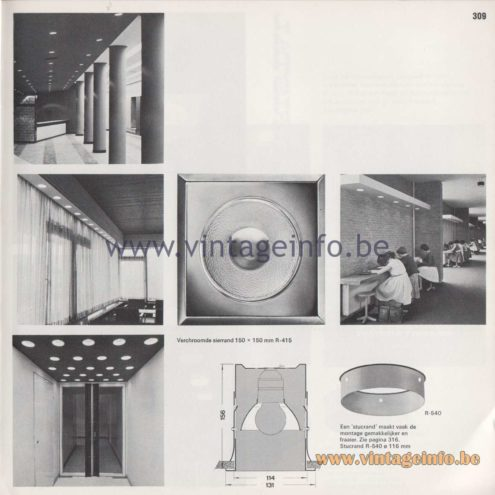 Raak Amsterdam Light Catalogue 8 - 1968 - R-271, R-132 Dwerginbouw (recessed dwarf) Flush Mount