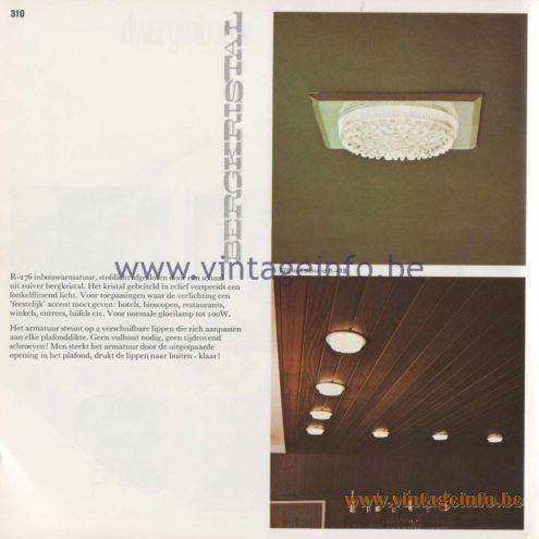 Raak Amsterdam Light Catalogue 8 - 1968 - R-276 Bergkristal (Rhinestone) Recessed Flush Mount