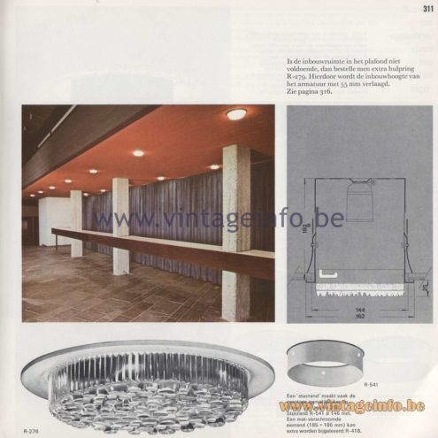 Raak Amsterdam Light Catalogue 8 - 1968 - R-276 Bergkristal (Rhinestone) Recessed Flush Mount and R-279
