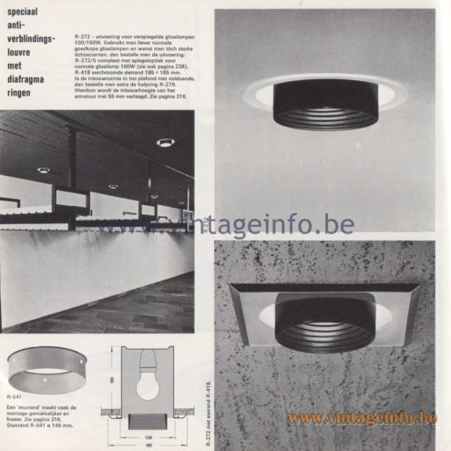 Raak Amsterdam Light Catalogue 8 - 1968 - R-272, R-272/S Flush Mount - speciaal anti-verblindingslouvre met diafragma ringen - special anti-glare louver with diaphragm rings