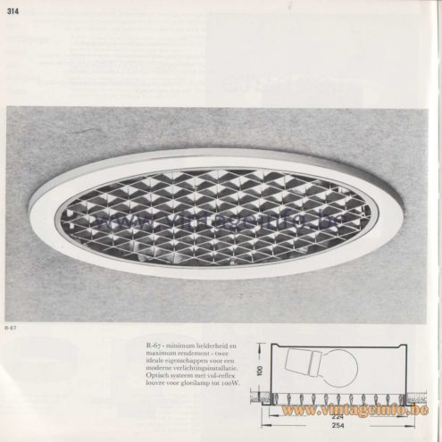 Raak Amsterdam Light Catalogue 8 - 1968 - R-67 Recessed Flush Mount
