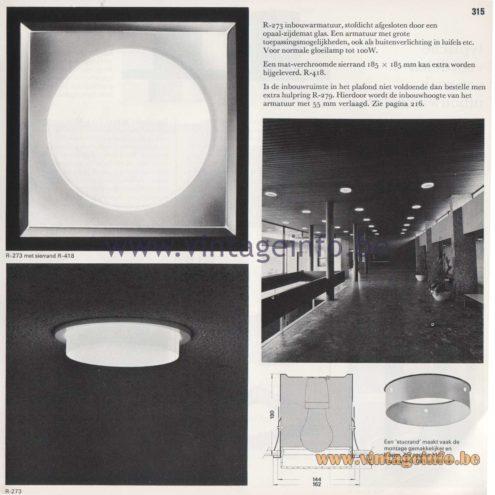 Raak Amsterdam Light Catalogue 8 - 1968 - R-273 Recessed Flush Mount