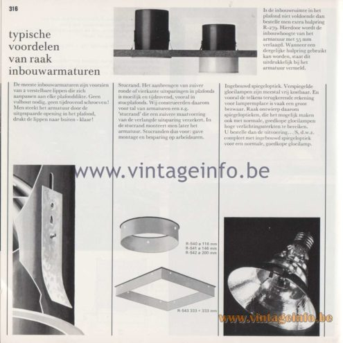 Raak Amsterdam Light Catalogue 8 - 1968 - Typische voordelen van Raak inbouwarmaturen - Typical advantages of Raak recessed luminaires
