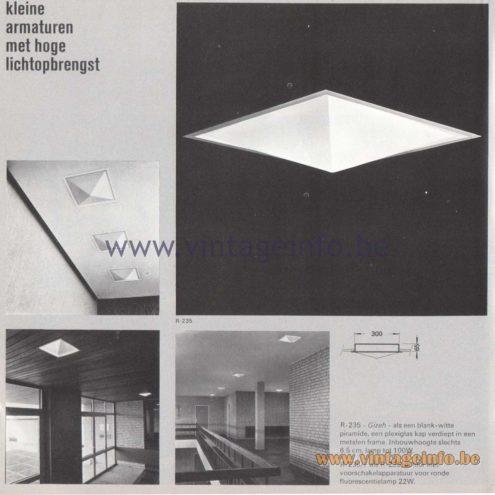 Raak Amsterdam Light Catalogue 8 - 1968 - R-235 Gizeh Recessed Flush Mount - kleine armaturen met hoge lichtopbrengst - small luminaires with high light output