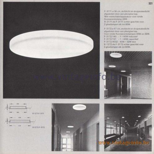 Raak Amsterdam Light Catalogue 8 - 1968 - F-3171, B-2171, F-3172, F-3172/140, 414, 4032 Flush Mount