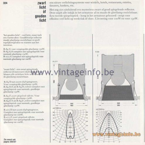 Raak Amsterdam Light Catalogue 8 - 1968 - R-84, R-277 Recessed Flush Mounts