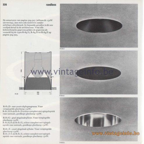 Raak Amsterdam Light Catalogue 8 - 1968 - R-81/D/G/Z Recessed Flush Mounts - randloos - borderless
