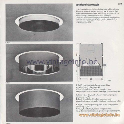 Raak Amsterdam Light Catalogue 8 - 1968 - R-82/D/G/Z Recessed Flush Mounts - verstelbare inbouwhoogte - adjustable installation height
