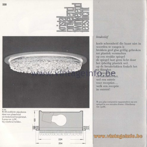 Raak Amsterdam Light Catalogue 8 - 1968 - Raak R-66 Recessed Flush Mount - kristal pinkelend, twinkelend feestlicht - crystal blinking, twinkling party light Raak R-305 Breukreliëf Flush Mount