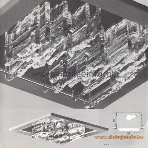 Raak Amsterdam Light Catalogue 8 - 1968 - Raak R-305 Breukreliëf (Fracture relief) Flush Mount