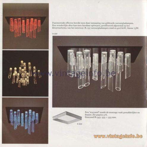 Raak Amsterdam Light Catalogue 8 - 1968 - Raak Cascade R-304, R-197 Flush Mount