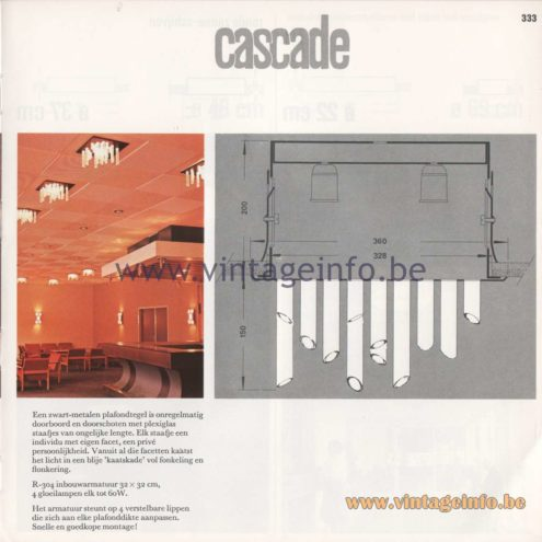 Raak Amsterdam Light Catalogue 8 - 1968 - Raak Cascade R-304 Flush Mount