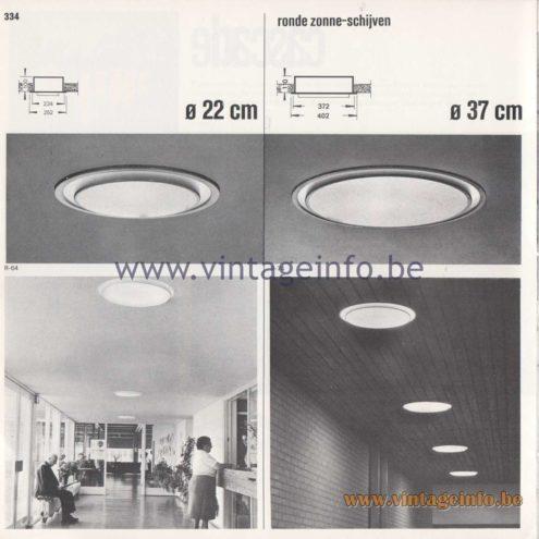 Raak Amsterdam Light Catalogue 8 - 1968 - Raak R-64 Flush Mount - ronde zonne-schijven - round solar discs