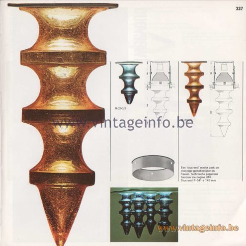 Raak Amsterdam Light Catalogue 8 - 1968 - Stalactieten Flush Mounts R-290/S, R-297/S Design: Nanny Still