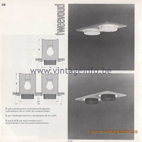 Raak Amsterdam Light Catalogue 8 - 1968 - Raak Tweevoud (Double) Flush Mounts R-426, R-422, R-422/S