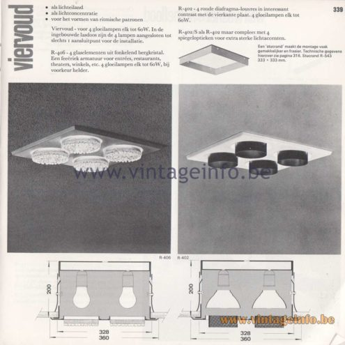 Raak Amsterdam Light Catalogue 8 - 1968 - Raak Viervoud (Quadruple)Flush Mounts R-406, R-402, R-402/S