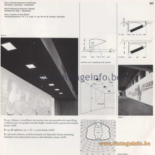 Raak Amsterdam Light Catalogue 8 - 1968 - Raak Wall Washer Homeflood Flush Mount R-341, R-141/K, R-148