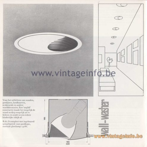Raak Amsterdam Light Catalogue 8 - 1968 - Raak Wall Washer Flush Mount R-61/S
