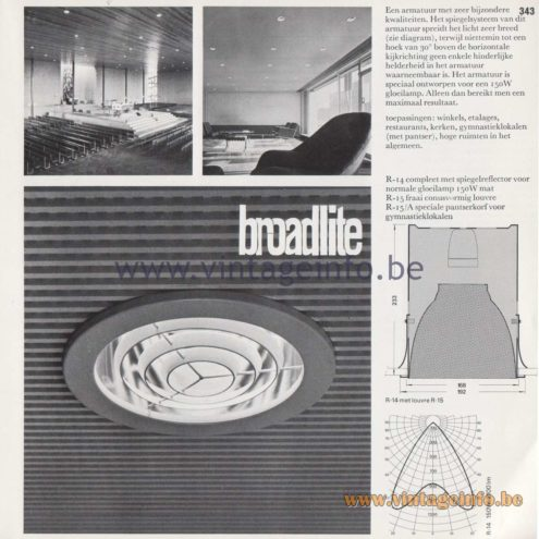 Raak Amsterdam Light Catalogue 8 - 1968 - Raak Broadlite Flush Mount R-14, R-15, R-15/A