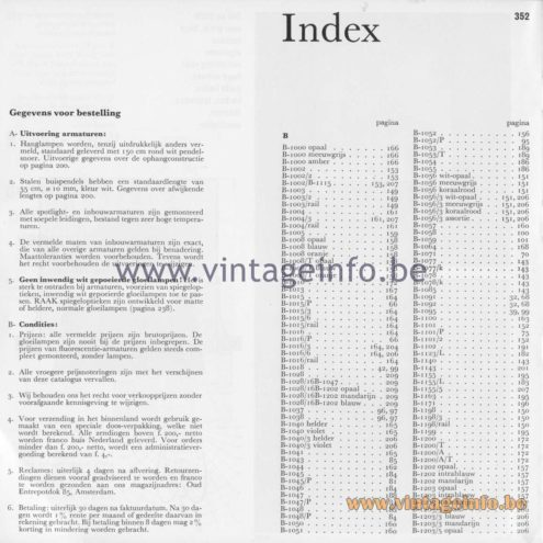 Raak Amsterdam Light Catalogue 8 - 1968 - Index model numbers - Gegevens voor bestelling - Data for order