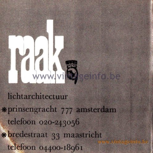 Raak Amsterdam Light Catalogue 8 - 1968 - Last page: Address: Prinsengracht 777, Amsterdam, Bredestraat 33, Maastricht, The Netherlands