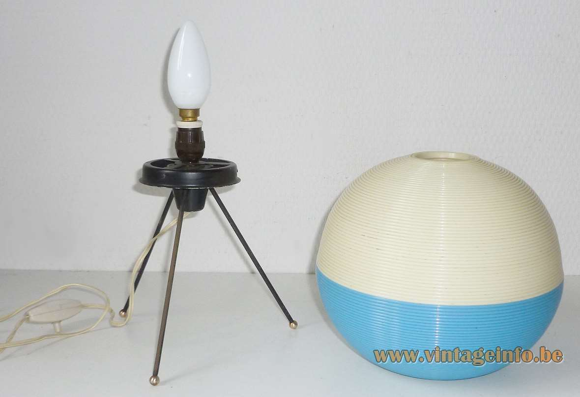 Rotaflex tripod table lamp plastic globe in Rhodoid cellulose acetate design Pierre Guariche 1950s 1960s A.R.P.
