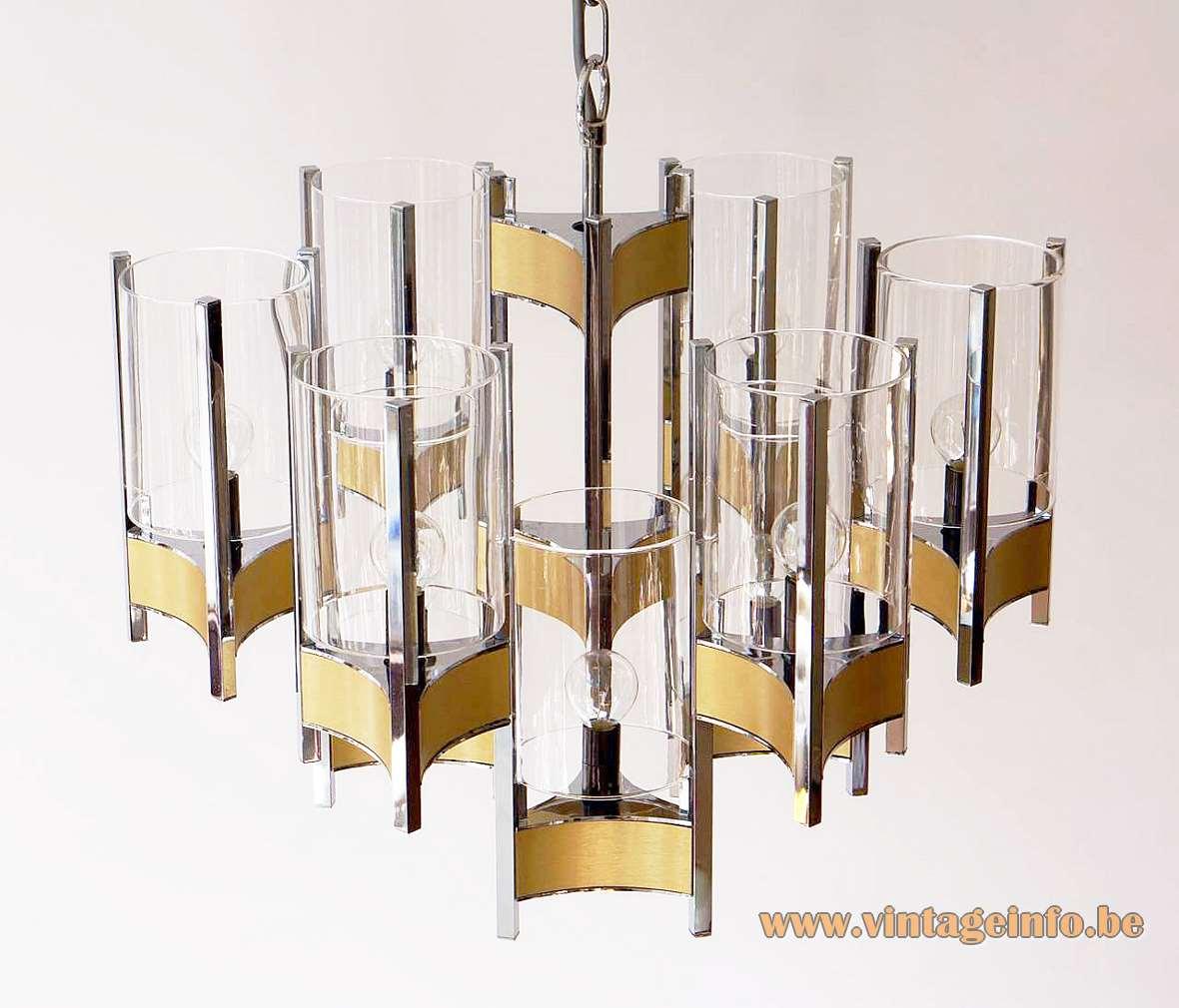 Sciolari Brass & Chrome Chandelier