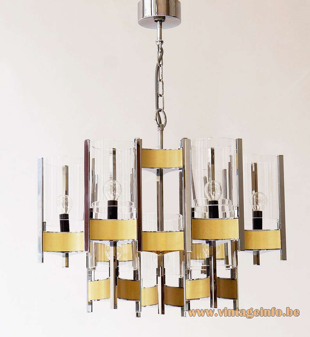 Sciolari Hurricane chandelier design: Gaetano Sciolari 9 glass tubes brushed brass chrome E14 sockets 1970s 1980s