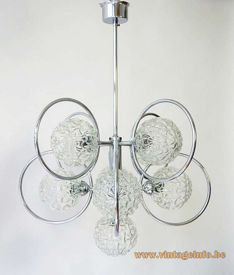 Sputnik 9 glass globes chandelier embossed glass chrome rings and frame Massive Belgium 1960s 1970s MCM