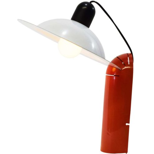 Stilnovo Lampiatta table lamp red plastic base white aluminium lampshade designers: De Pas, D'Urbino, Lomazzi 1970s