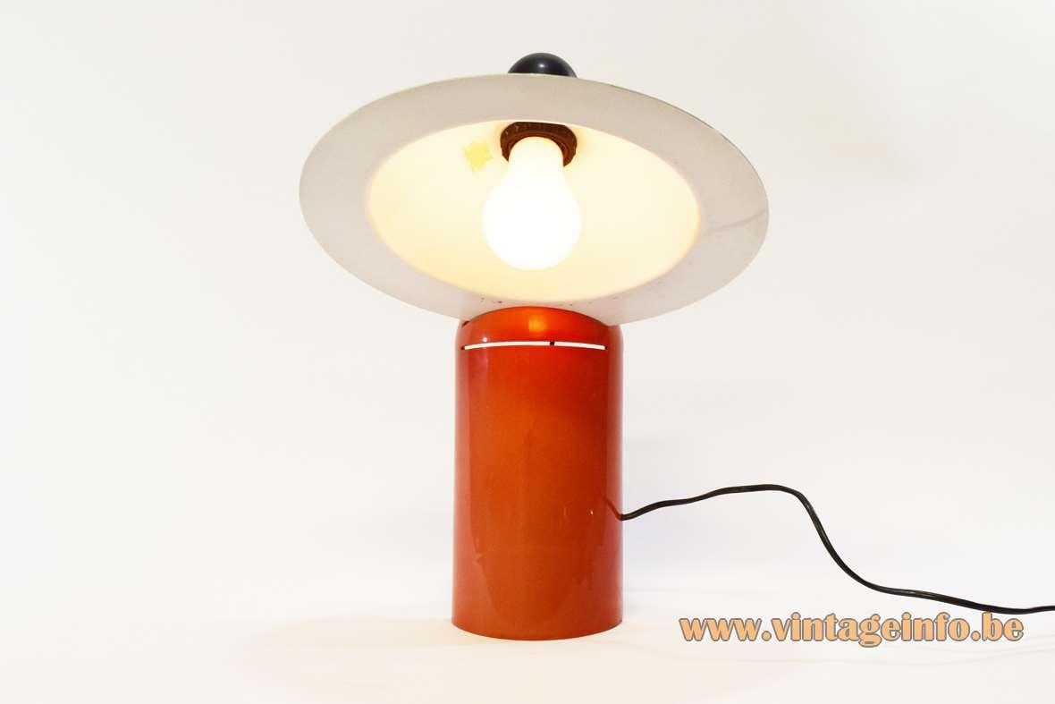 Stilnovo table lamp Lampiatta plastic base aluminium lampshade designers: De Pas, D'Urbino, Lomazzi 1970s MCM Mid-Century Modern E27 socket