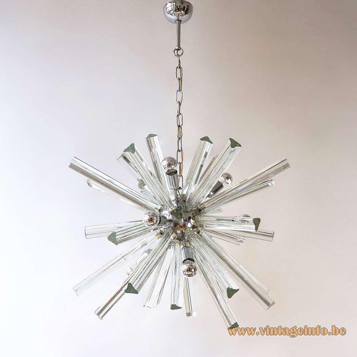 Trihedral crystal glass sputnik chandelier Trierdi glass rods chrome 1960s 1970s MCM Italy