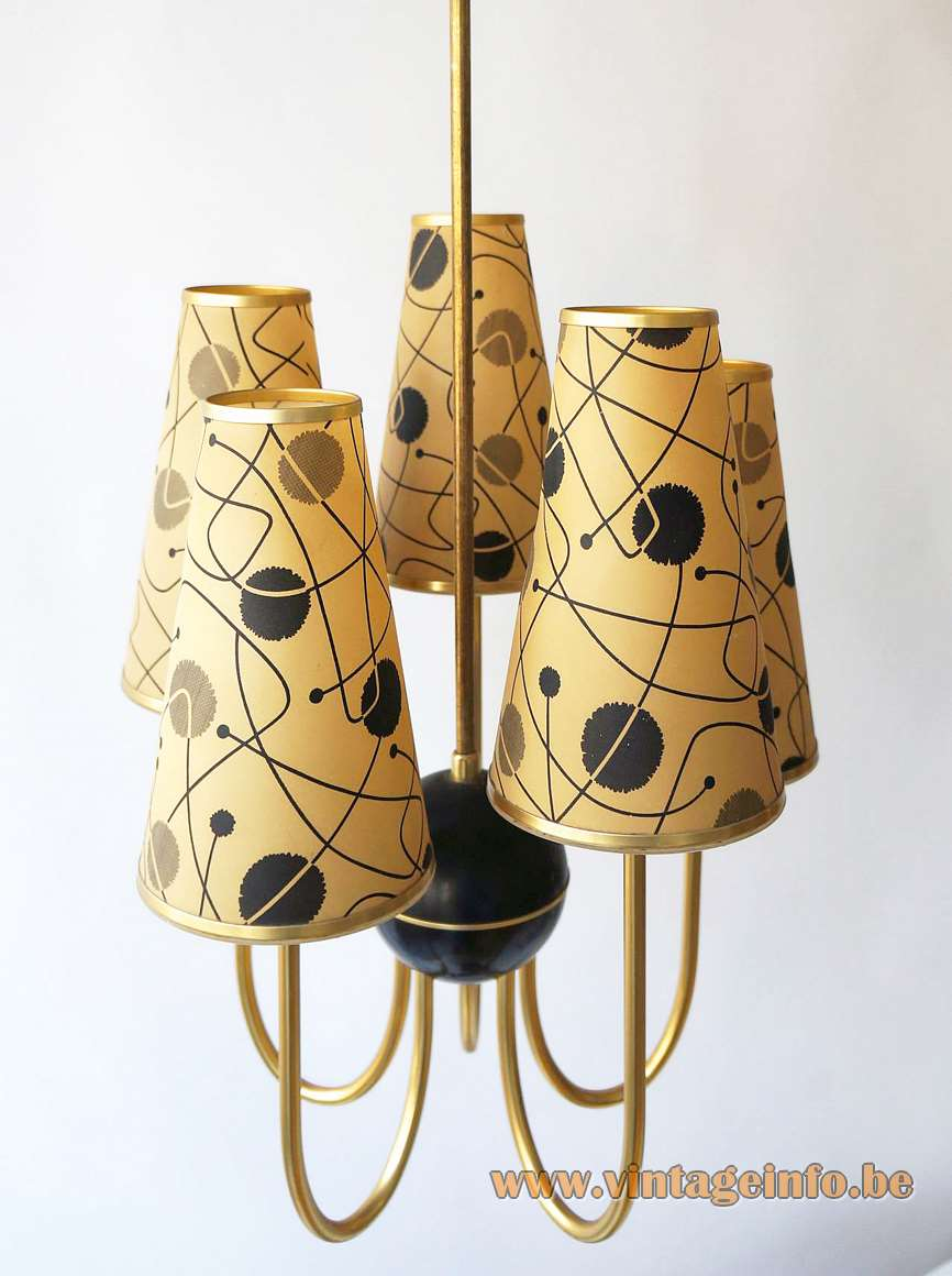 1950s ERCO conical cylinders chandelier black Bakelite globe curved brass rods 5 plastic tubes 1960s Germany