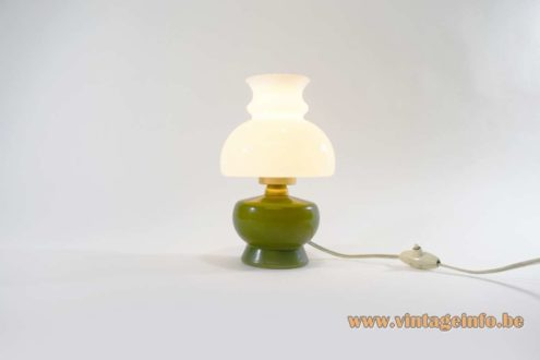 1950s Olive Green & White Glass Bedside Lamp
