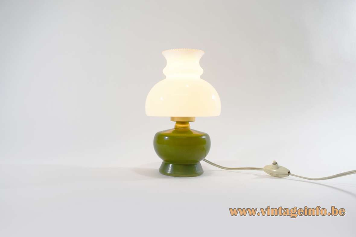 1950s olive green & white glass table lamp painted round brass 1960s Italy E14 lamp socket oil