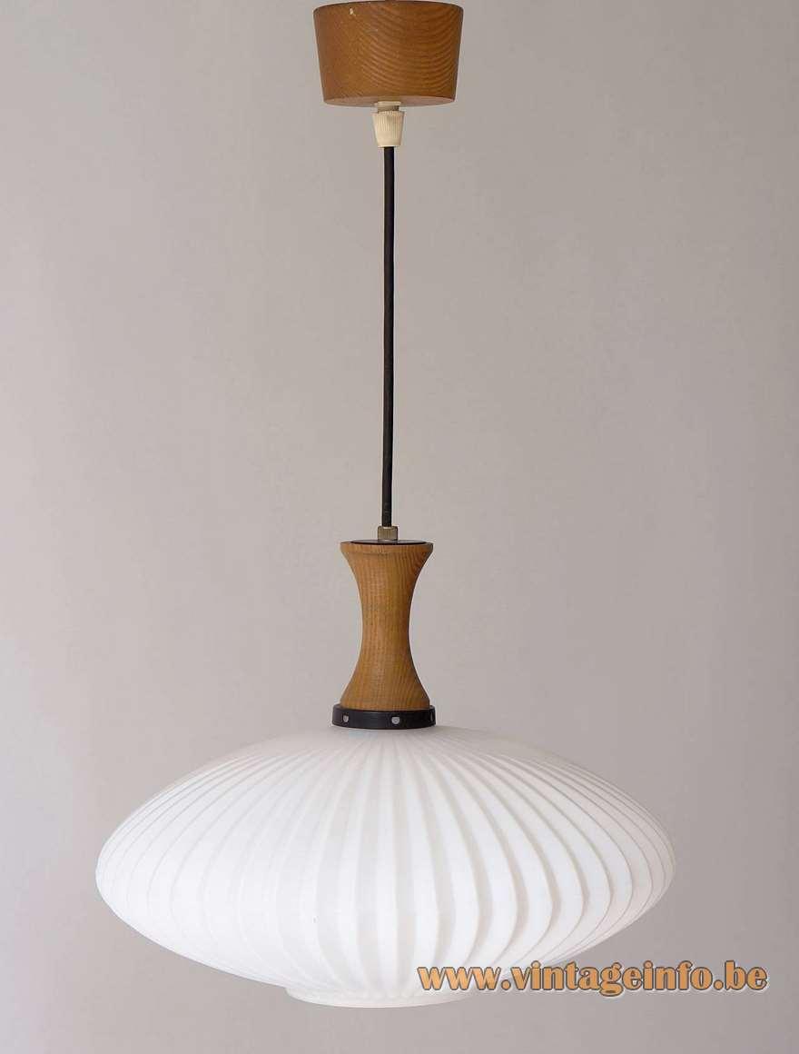 1950s Scandinavian style ribbed opal glass pendant lamp wood top and canopy E27 socket Massive Belgium 1960s