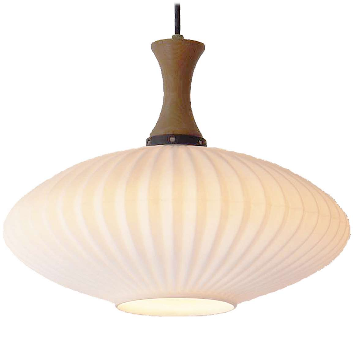 1950s Scandinavian Ribbed Glass Pendant Lamp