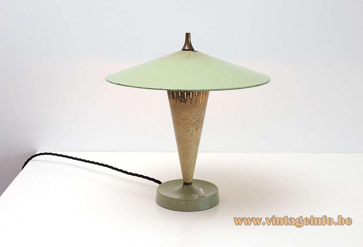 1950s VEB Leuchtenbau table lamp AKA Electric Designer: Lutz Rudolf 1950s round base and lampshade, conical