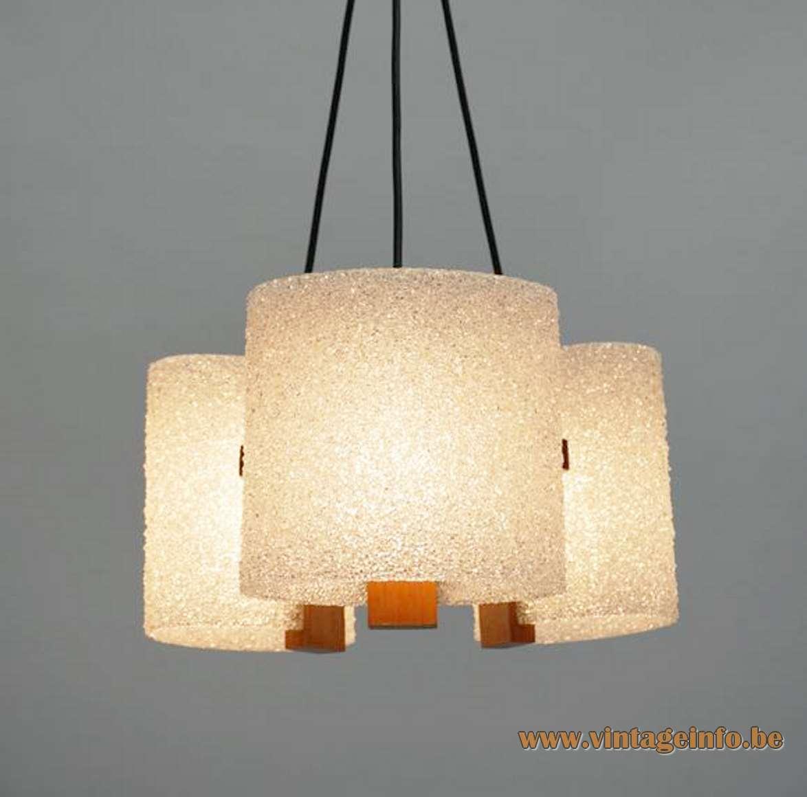 1960s acrylic & teak chandelier pressed grains teak wood Maison Arlus France 1970s Mid-Century Modern