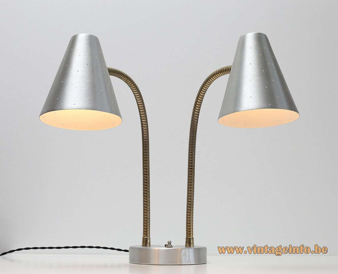 1960s Lightolier Aluminium Double Table Lamp Vintageinfo All About Vintage Lighting