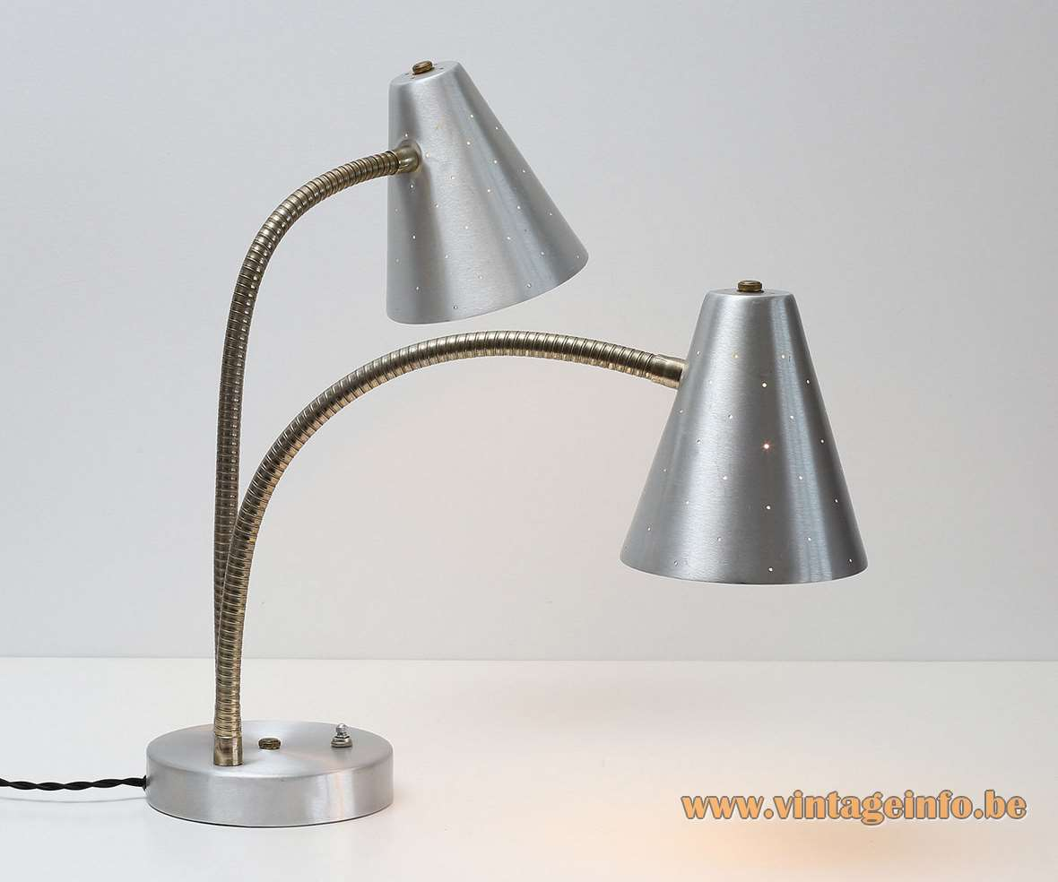 1960s Lightolier Aluminium Double Table Lamp