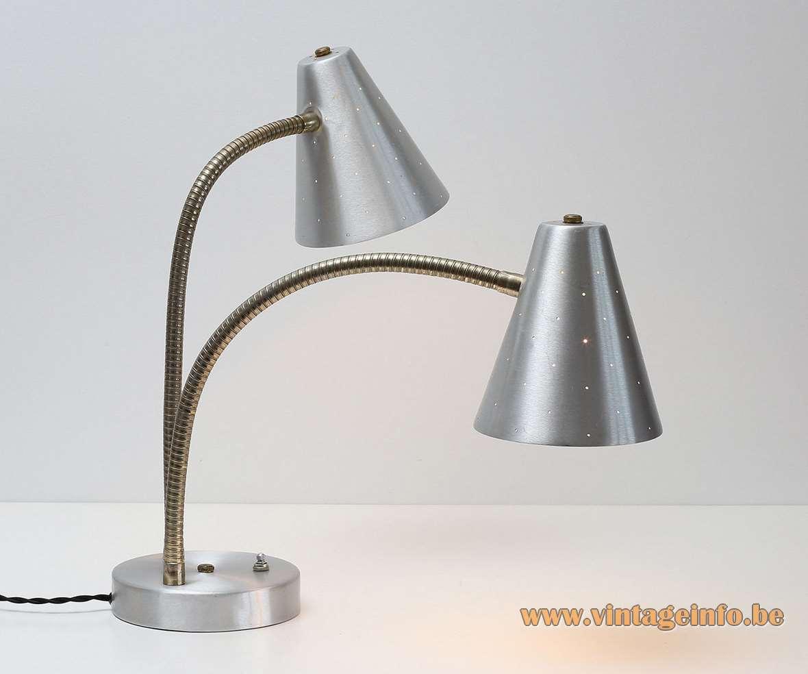 1960s Lightolier aluminium double table lamp designer: Gerald Thurston conical perforated lampshades brass goosenecks MCM