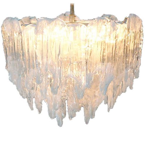 1970s AV Mazzega dripping icicles chandelier round white metal frame 16 glass parts 9 E14 sockets